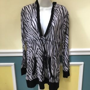 Athleta Zebra Print Hooded Top